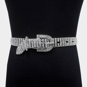 Embellished Crystal Rhinestone Pave Buckle Belt